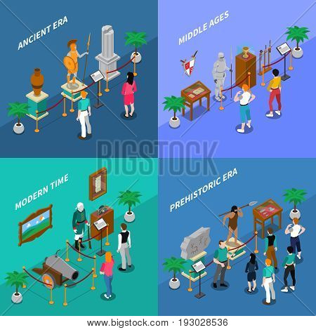 Set of isometric museum scenes including art gallery and historical museum vector illustration