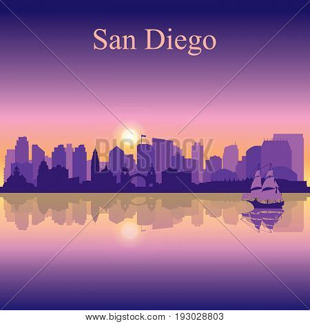 San Diego Silhouette On Sunset Background