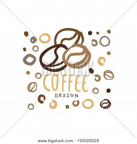 Coffee label, hand drawn vector Illustration, logo template for branding identity restaurant, cafe, coffee shop, espresso bar, coffeehouse