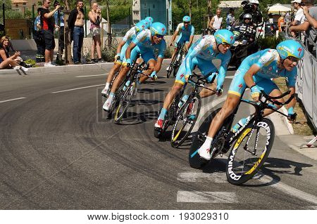 NICE - JULY 2 : The TOUR 2013 (Tour de France) .Astana Pro Team during Nice/Nice Stage 4 (25 km).