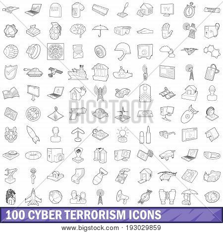 100 cyber terrorism icons set in outline style for any design vector illustration