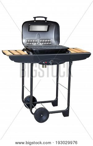 Barbecue Gas Grill Isolated on White Background. Black BBQ Grillware Gas Grill. Outdoor Grill Table. Outdoor Cooking Station