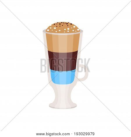 Coffee americano in a glass cup vector Illustration isolated on a white background