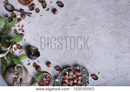 Nuts, Dried Fruits And Silverware Christmas Winter New Year Decoration.