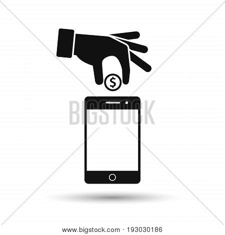 Hand put coin in phone icon. Billing funding your account phone black icon. Vector illustration.