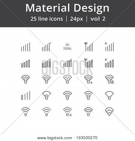 Simple material design icons, Icons for user signal interface. Pixel perfect