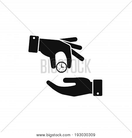 Hand giving the clock icon. Vector isolated time economy illustration.