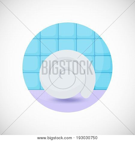 Towel vector flat icon Flat design of spa hygiene or massage object in the bathroom interior vector illustration with shadows