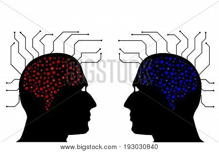 Man head circuit. Abstraction of thinking mind.Circuit board computer style brain vector technology.