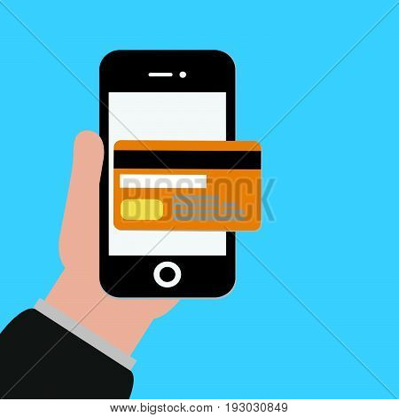 Credit Cards vector.Mobile payments illustration.Online shopping.Mobile banking icon.Electronic commerce concept..