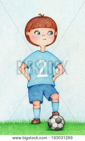 hand drawn illustration of boy in sportswear playing football by the color pencils. Character design. Creative people professions collection