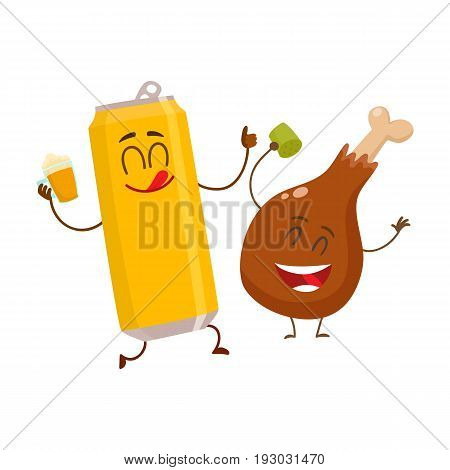 Funny alumium beer can and fried chicken leg characters having fun, cartoon vector illustration isolated on white background. Funny smiling beer can and chicken leg, drumstick having party together