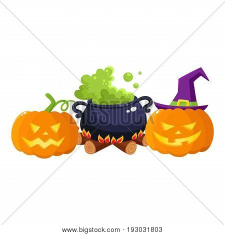 Hallowing symbols, pumpkin jack o lanterns and black iron caldron with boiling green potion cartoon vector illustration isolated on white background. Two Halloween pumpkin lanterns and caldron on fire