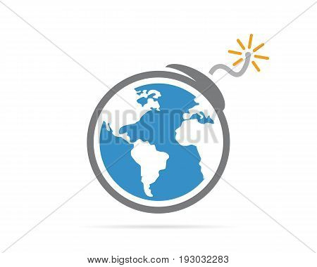 logo design combination of a earth and bomb. Earth and bomb symbol or icon