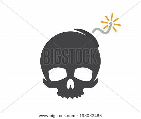 logo design combination of a skull and bomb. Skull and bomb symbol or icon