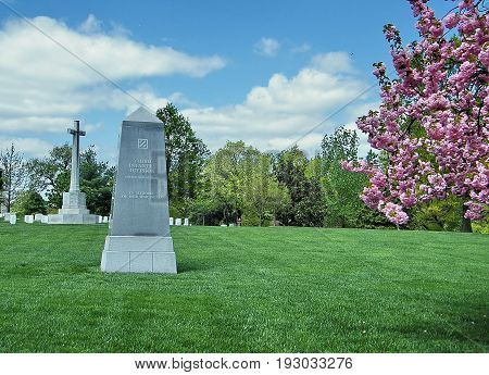 Arlington, USA - April 9, 2010: Third Infantry Division Memorial in Arlington National Cemetery.