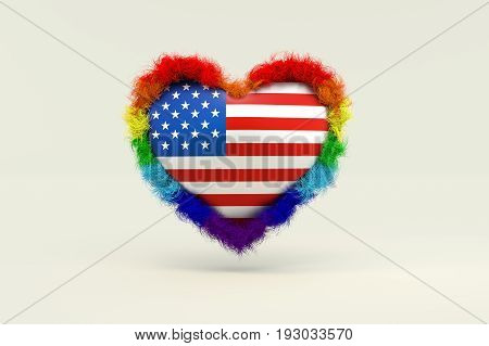 3d illustration Shape of Heart in Rainbow Color against discrimination in America