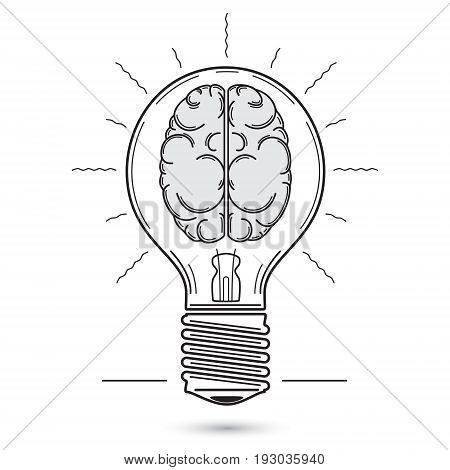 Vector graphic image of the light bulb. Inside the bulb is a symbolic image of the human brain. It symbolizes an idea inspiration light of consciousness.