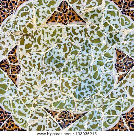 mosaic tile decoration broken glass in Barcelona, Spain.