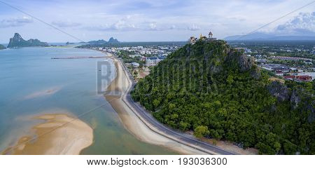 aerial view of prachuap khiri khan harbor southern of thailand