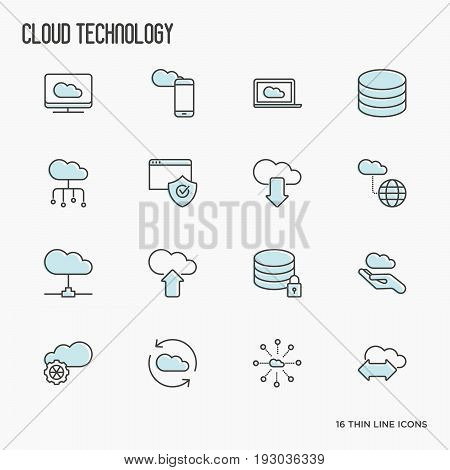 Cloud computing technology thin line icons set related to hosting, server storage, cloud management, data security, mobile and desktop memory. Vector illustration.