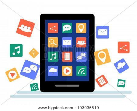Black tablet with cloud of application icons and Apps icons flying around them isolated on White background. Flat Illustration