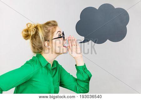 Business Woman Yelling Telling Something