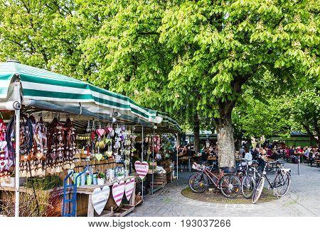 Munich, Germany - May 23, 2017: Viktualienmarkt - famous delicatessen market