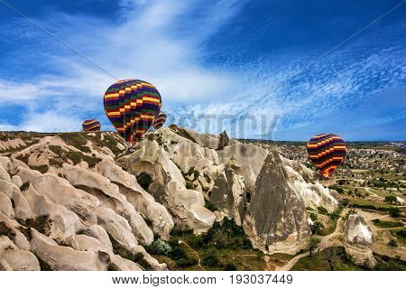 Hot air balloons sunset Cappadocia landscape, Turkey
