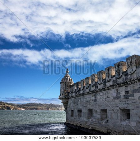 Belem tower in Lisbon, architectural view, Portugal