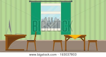 Illustration of a classic homeoffice, Flat design