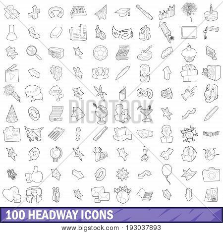 100 headway icons set in outline style for any design vector illustration