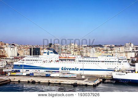 Naples, Italy - May 30, 2017: Naples sea port, passenger ship Tirrenia