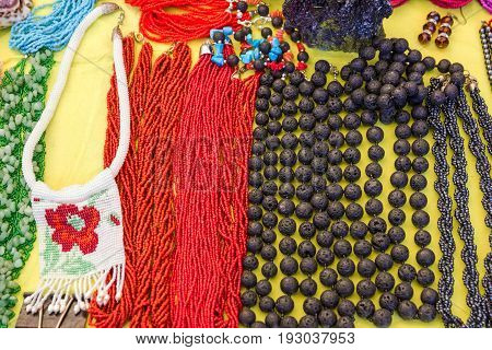 Bead necklaces ornamental decoration jewelery, red and black