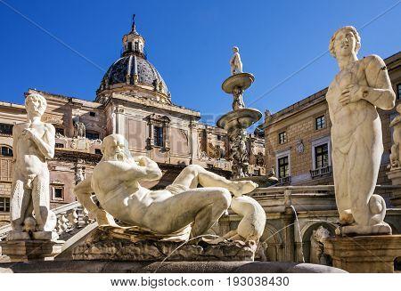 Palermo sculptural Fontain Pretoria in Sicily, Italy.
