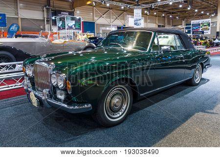 MAASTRICHT NETHERLANDS - JANUARY 14 2016: Full-size luxury car Bentley T1 Drophead Coupe 1970. Coachwork by Mulliner Park Ward. International Exhibition InterClassics & Topmobiel 2016