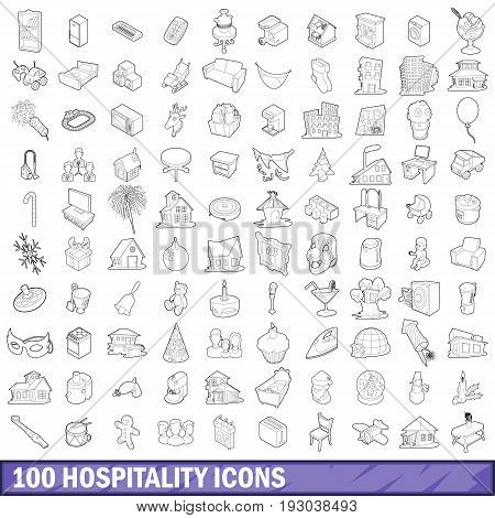 100 hospitality icons set in outline style for any design vector illustration