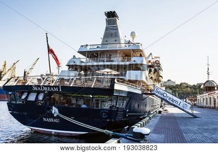 ODESSA, Ukraine - August 23, 2016: Cruise ship Dream came into the port of Odessa, Ukraine Odessa is the biggest port of Ukraine.