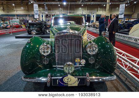 MAASTRICHT NETHERLANDS - JANUARY 14 2016: Full-size luxury car Bentley Mark VI 1950. International Exhibition InterClassics & Topmobiel 2016
