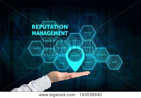 Reputation Management concept. Protecting gesture of businessman and symbol of a chart with related keywords over business background. Highlighted standards