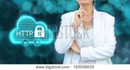 HTTPS - security in the internet concept. Senior businesswoman silhouette in bacground.