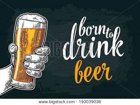 Male hand holding a beer glass. Vintage color vector engraving illustration for web, poster, invitation to party and birthday. Isolated on dark background