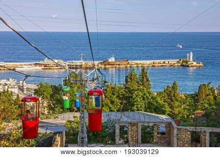 Yalta, Crimea - June 3, 2017: Cable car in Yalta, Crimea, Russia.
