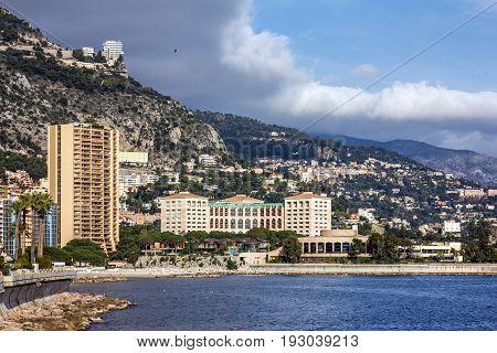 Monaco and Monte Carlo principality seafront landsape.
