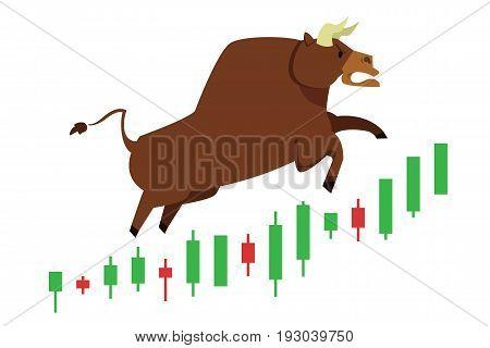 Bull treading on the stock market.  bull (market) running up on technical graph.  Stock exchange market bulls metaphor. Growing, rising up stock price.  Trading Flat style vector illustration EPS10.