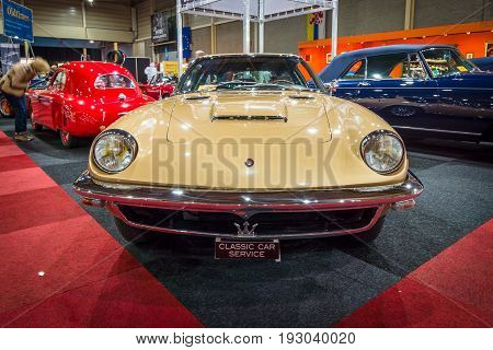MAASTRICHT NETHERLANDS - JANUARY 14 2016: Grand tourer coupe Maserati Mistral 1964. International Exhibition InterClassics & Topmobiel 2016