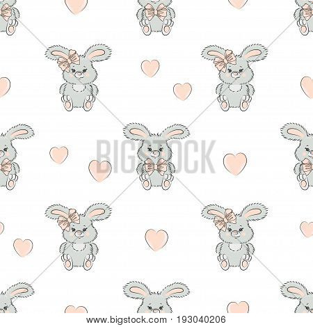 Seamless pattern with cute little rabbits and hearts. Baby print. Vector bunny background.