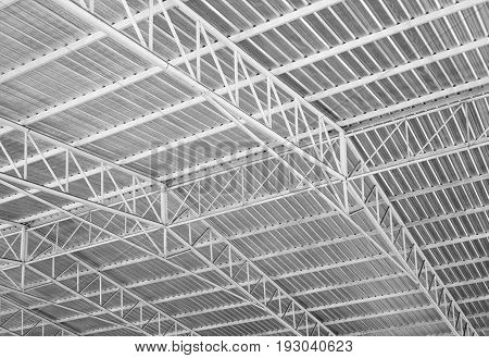 Structure of metal sheet roof. Steel roof frame black and white.