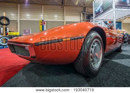 MAASTRICHT NETHERLANDS - JANUARY 15 2016: Mid-engined two-seat coupe Maserati Bora 1973. International Exhibition InterClassics & Topmobiel 2016