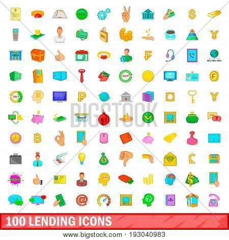 100 lending icons set in cartoon style for any design illustration